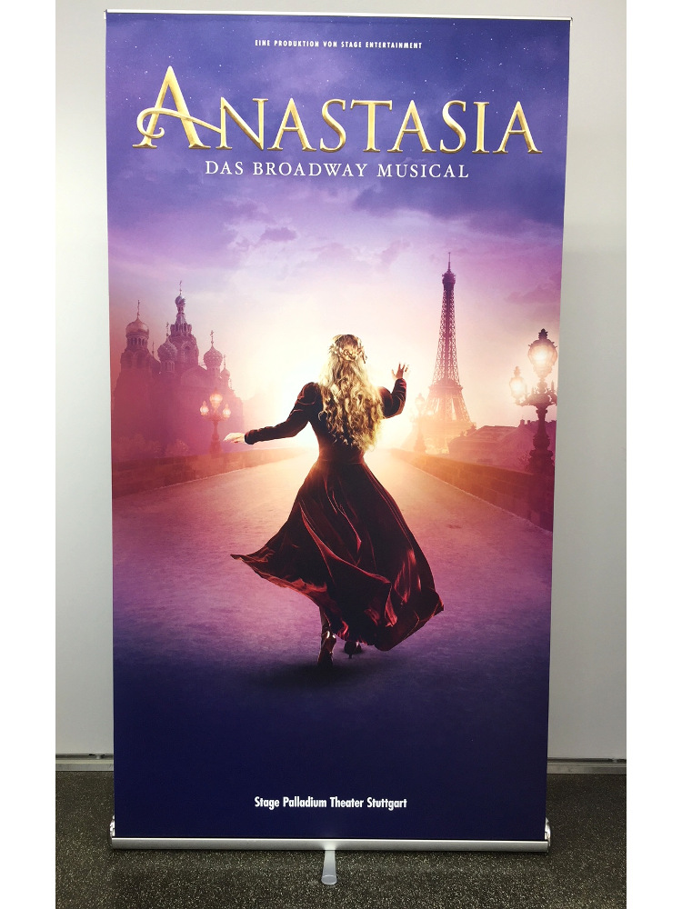 Roll-Up Digitaldruck Stage mobiles Messesystem Anastasia