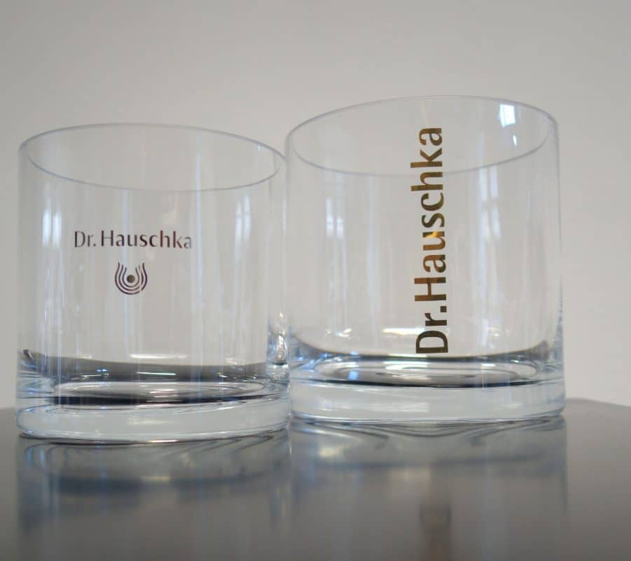 Werbemittel Zylinderglas mit Logo