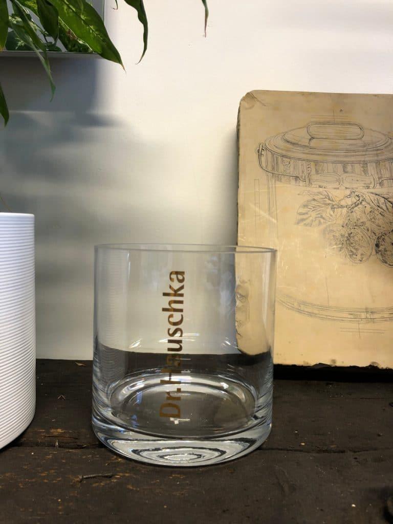 Glas für Dr. Hauschka Werbemittel